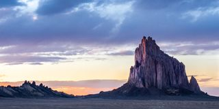 Shiprock, New Mexico. Panoramic Composition Of Ship Rock, A Volcanic Neck, Designated A U.S. National Natural Landmark, On Navajo Nation Lands, San Juan County royalty free stock photos