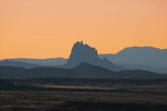 Shiprock Sunset. Afterglow of sunset at Shiprock, New Mexico Stock Photos