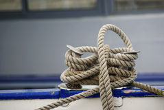 Shiprope. Rope to tie up a ship in the harbour at a bollard stock photo