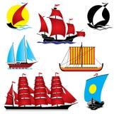 Ships. Set of  images of sailing ships Royalty Free Stock Image