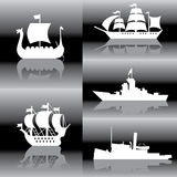Ships. Set of  silhouette images of sailing ships Royalty Free Stock Photography