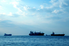 Ships. An image of several big ships on the sea Royalty Free Stock Images