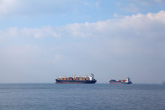 Ships. An image of several big ships on the sea Royalty Free Stock Photo
