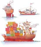 Ships. There are three type of a ships: the ocean liner, the tugboat and the bulker Royalty Free Stock Photography