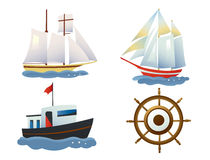 Ships. A set of beautiful ships and steering wheel. Vector illustration Royalty Free Stock Photos