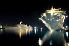 Ships. Luxurious modern yacht and cruise liner at the pier at night