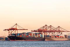 Ships. Cargo ships with containers at port royalty free stock photography
