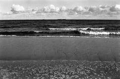 The ships. Polish Baltic coast. Photo was taken by camera Mamiya Sekor DTL 1000, Fomapan profi line classic 100/36, classic black and white grainy film and Stock Photo