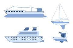 Ships. Set of different ships stock illustration