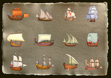 Ships. Antique back ground in brown old paper with ships Stock Images