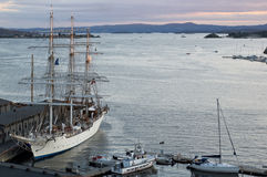Ships at Aker Brygge in Oslo, Norway royalty free stock photo