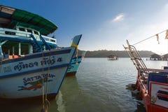 Ships anchored at the pier of Bang Bao village. Koh Chang island Royalty Free Stock Image