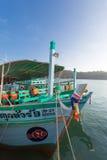 Ships anchored at the pier of Bang Bao village. Koh Chang island Royalty Free Stock Images