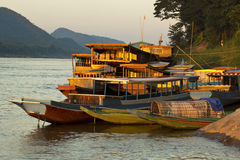 Ships anchored on river bank royalty free stock photos