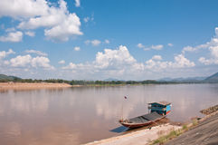 Ships anchored. View Ships anchored on the river bank of mekong river Stock Photo