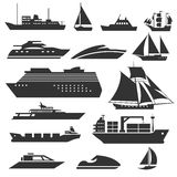 Ships And Boats Icons. Barge, Cruise Ship, Shipping Fishing Boat Vector Signs Stock Photos