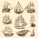 Ships And Boats Sketch Set Stock Photography