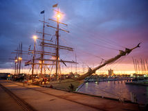 Ships ans sunsets Royalty Free Stock Image