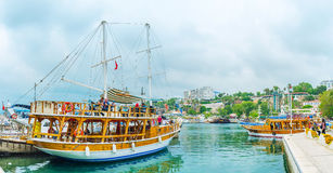 The ships in Antalya harbor Stock Photos