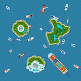Ships around islands top view Royalty Free Stock Images