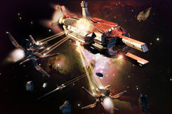 Ships attack close to Orion. Fighter ships attack  a big spaceship near the Orion nebula Stock Images