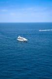 Ships in azure sea. Ships in sea near Azure Coast, France Royalty Free Stock Photography