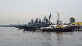 The ships of the Baltic fleet in Kronstadt Harbor, cloudy july afternoon. Russia stock video