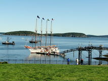 Ships in Bar Harbor USA. Bar Harbor is a town on Mount Desert Island in Hancock County, Maine, United States Royalty Free Stock Image