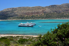 Ships in the Bay of Balos Royalty Free Stock Photography