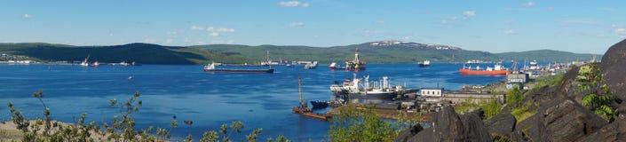 Ships in the Bay on the Kola Peninsula Royalty Free Stock Image