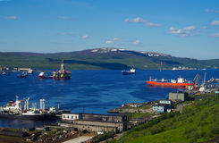 Ships in the Bay on the Kola Peninsula Royalty Free Stock Images