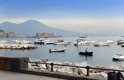 The ships in a bay of Naples, Italy, in the foggy morning Royalty Free Stock Photos