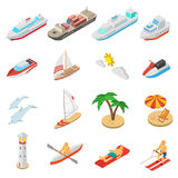 Ships and beach vacation icons set. Ships yachts boats and beach vacation isometric icons set isolated vector illustration Royalty Free Stock Photography