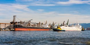 Ships being loaded. At the Port of Santos, Brazil royalty free stock photography