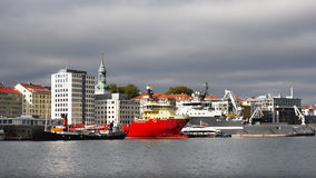 Ships in Bergen Harbor, Norway Stock Image