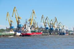 Ships at berth cargo port city of Vyborg sunny summer day. Vyborg, Russia Stock Photos