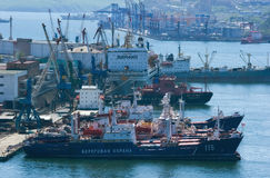 Ships at berth in the port on a sunny day. Vladivostok. Russia. 22.05.2015 Stock Photography