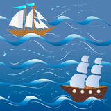The ships among the big waves Royalty Free Stock Photography