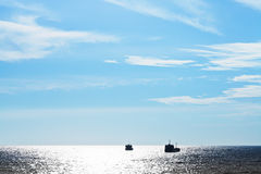 Ships in Black Sea in blue evening Stock Photography