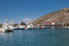 Ships and boats in Balaklava bay at summer day Royalty Free Stock Images