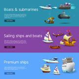 Ships And Boats Banners Set Stock Photography