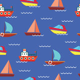 Ships and boats on blue background - sea seamless vector pattern Stock Photo