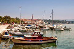 Ships and boats docked at Krk city Port -Croatia Stock Photos