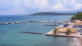 Ships Boats in Harbor. Ships and boats in a small harbor. Timelapse, Tilt-Shift stock video footage