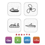 Ships and boats. 4  icons related to ships, boats and other objects/symbols in relation to boat swimming Royalty Free Stock Photo