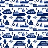 Ships and boats marine seamless background. Pattern with silhouette vector icons of a cruise liner  yacht  sailboat  container ship  tanker  freighter  anchor Stock Photos