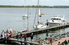 Ships and boats are mooring in the harbor of Veere. Netherlands,Zeeland,Walcheren,Veere, july2016: Ships and boats are mooring in the harbor of Veere Stock Images
