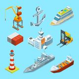 Ships, boats and seaport terminal. Cargo containers and crane for loading. Transportation shipping, container and sea port, logistic and delivery. Vector Stock Photos