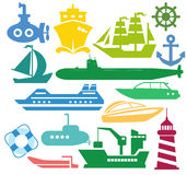 Ships and boats. Set of ships and boats Stock Photo