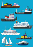 Ships and boats. Set of industrial cargo and passenger ships and boats. Flat vector illustration Royalty Free Stock Photo